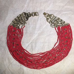 Stella & Dot coral and gold tone layered necklace